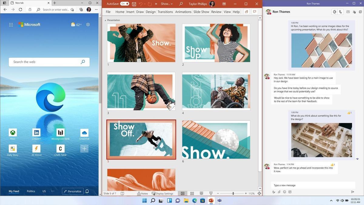 Una pantalla del nuevo Windows 11.