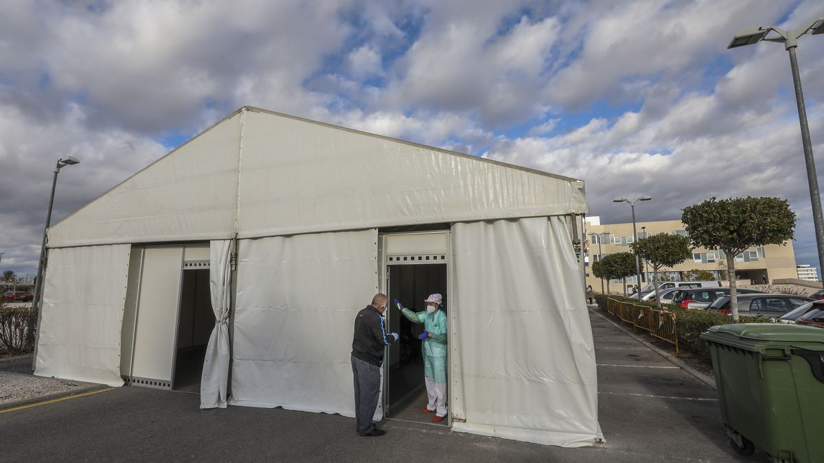One of the PCR test tents.