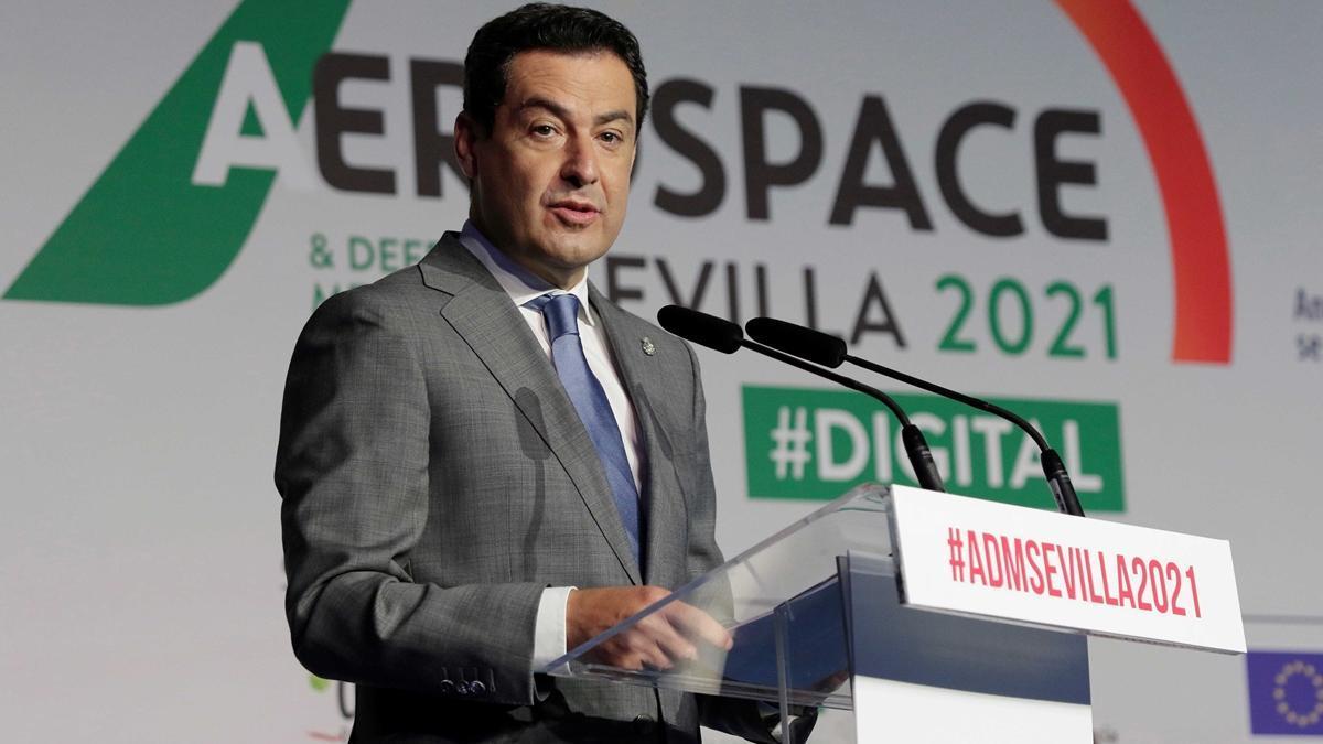 El presidente de la Junta de Andalucía, Juan Manuel Moreno, inaugura  Aerospace& Defense Meetings-ADM Sevilla 2021