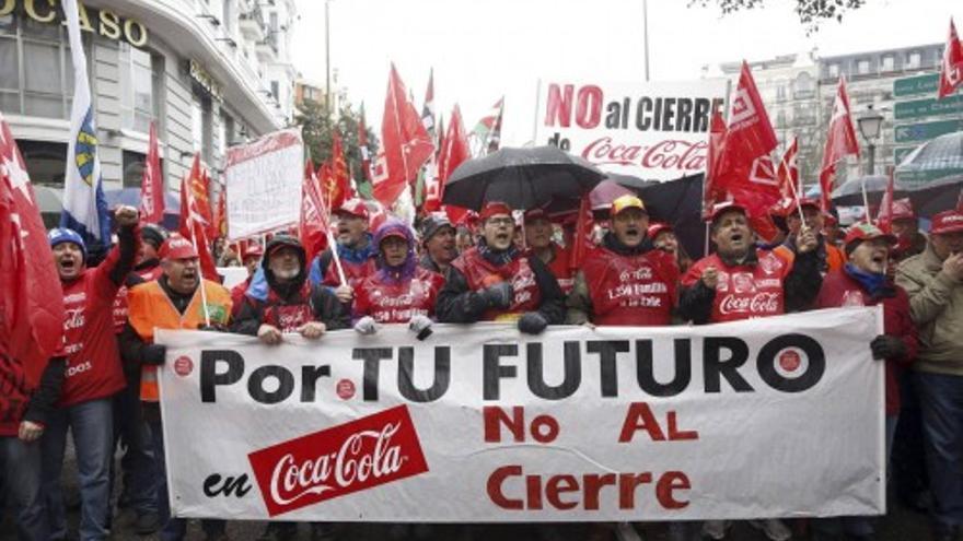 Marcha de los trabajadores de Coca-Cola contra el ERE