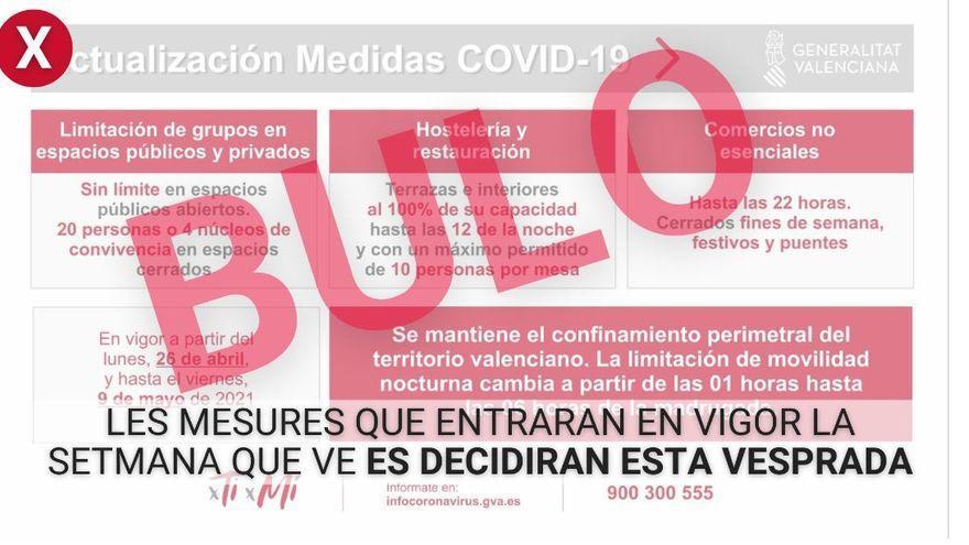 La Generalitat desmiente el bulo que circula sobre las nuevas restricciones