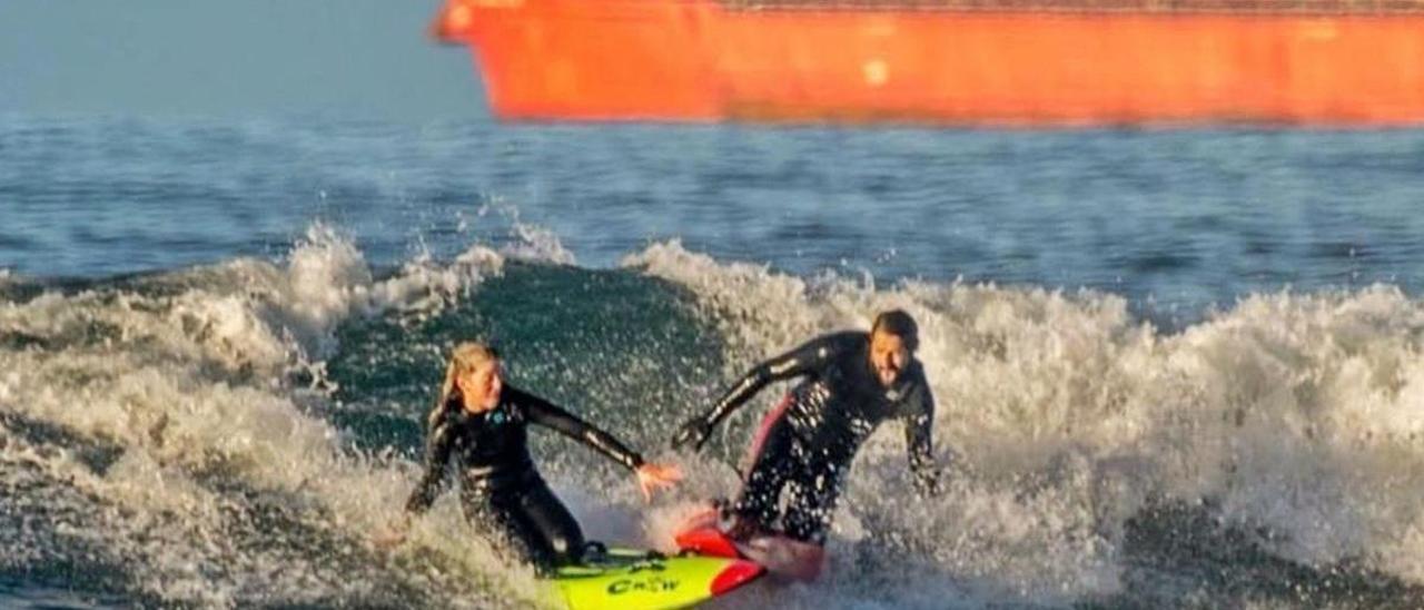 Marina Meana, entrenando con su tío Carlos Meana.