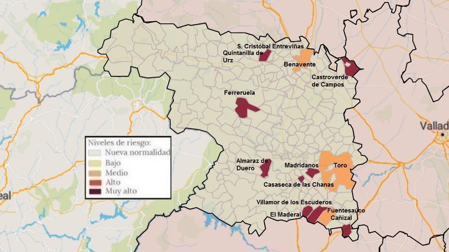 Mapa de coronavirus de Zamora, hoy martes | Castroverde, en zona de riesgo y Morales de Toro, limpio