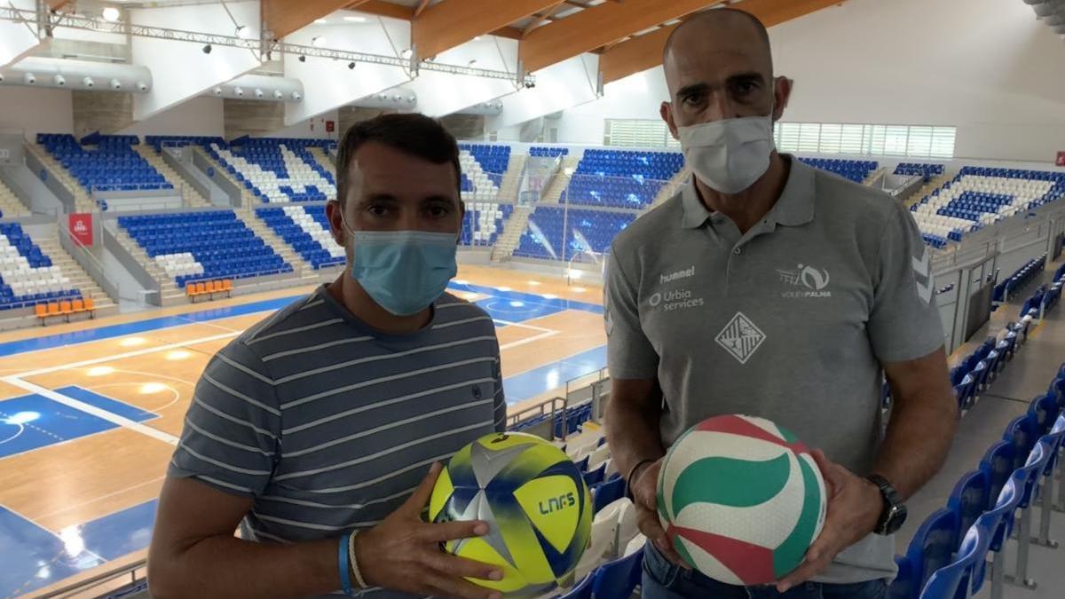 José Tirado y Marcos Dreyer posan en el Palau Muncipal d'Esports