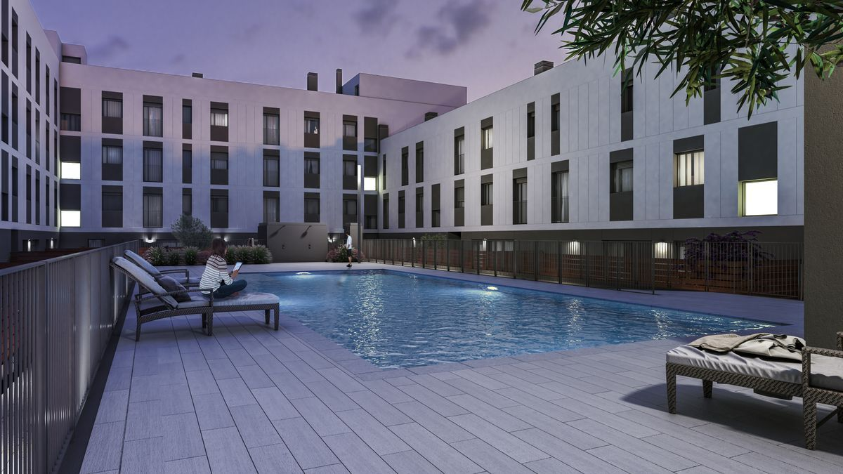 La promoción dispone de una amplia zona comunitaria de uso exclusivo con piscina y área de descanso.
