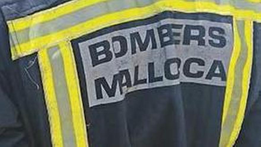El conseller insular de Desarrollo Local, Joan Font, habla con efectivos dels Bombers de Mallorca.