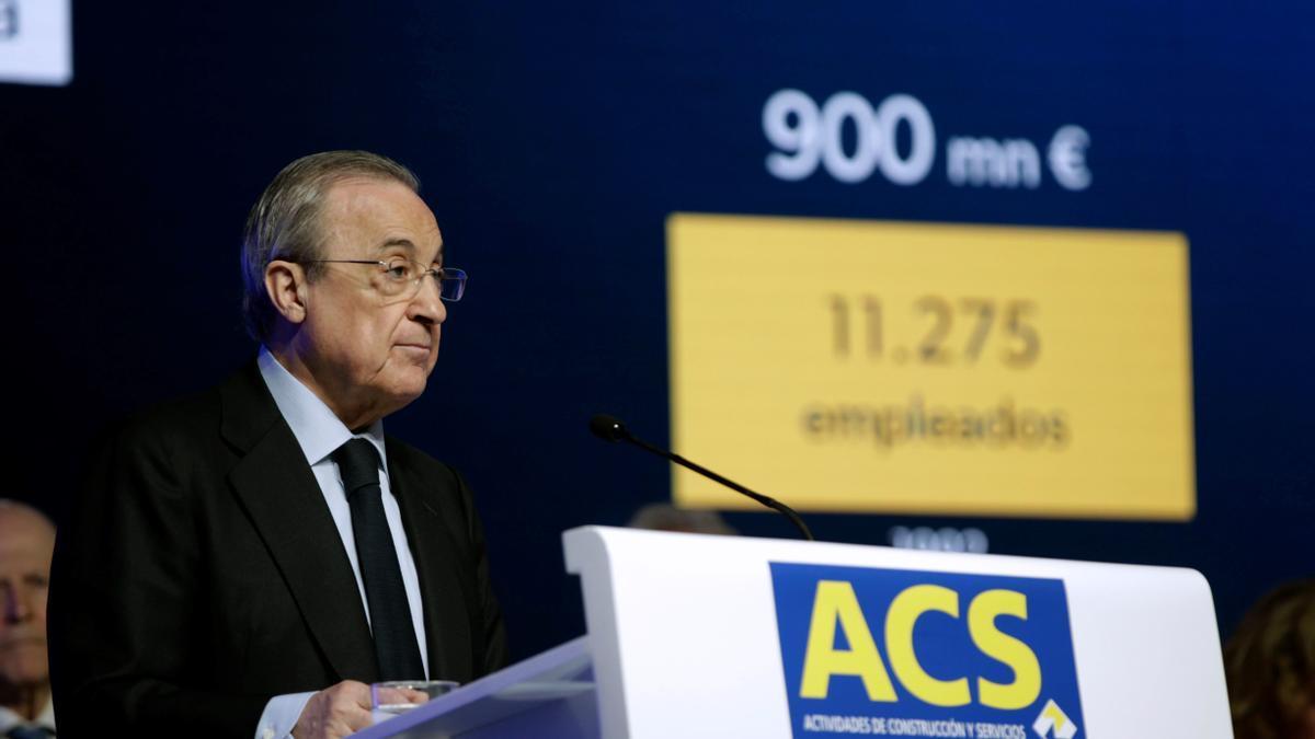 Florentino Pérez, en una Junta de Accionistas de ACS.