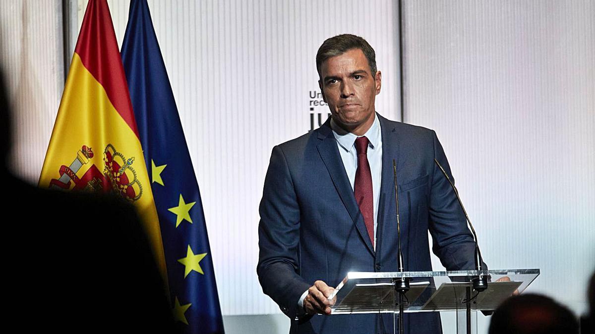 Pedro Sánchez, presidente del Gobierno, ayer, en el acto de apertura del curso político.  | EUROPA PRESS