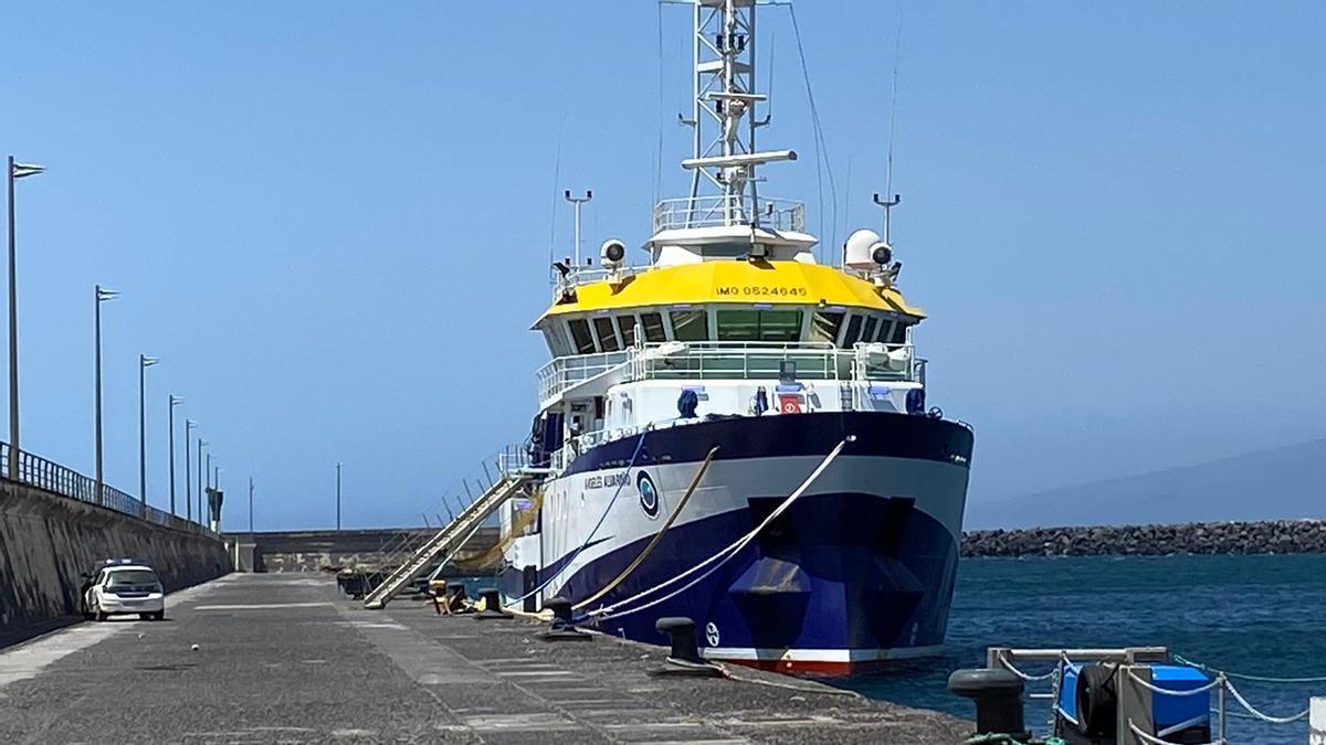 El 'Ángeles Alvariño' atraca en el puerto de Santa Cruz de Tenerife.