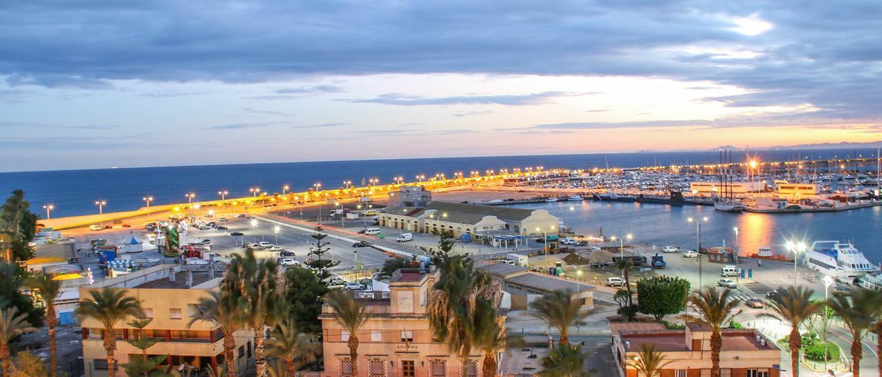 """Imagen panorámica del puerto de Torrevieja con el """"relleno"""", la zona pesquera, el paseo del Dique de Levante y el acceso desde el casino"""