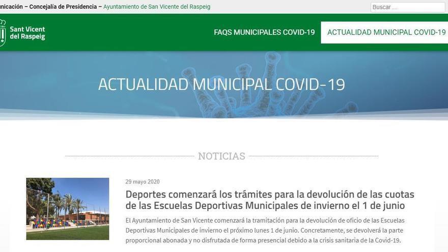 La web para informar del coronavirus en San Vicente que costó 2.700 euros lleva casi tres meses sin actualizarse