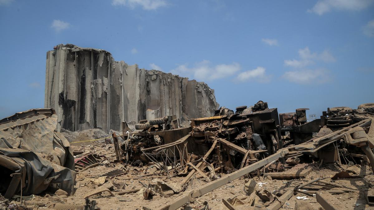 Daños materiales por la explosión del 4 de agosto de 2020 en el puerto de la capital de Líbano, Beirut.