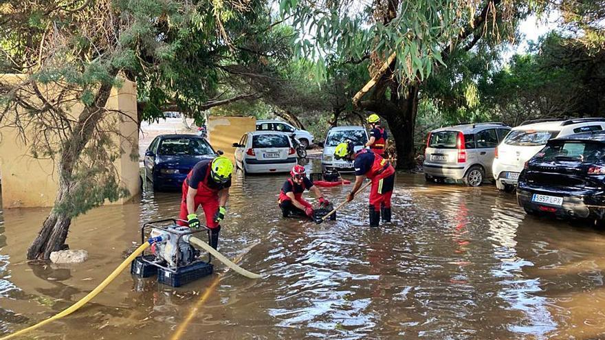 La lluvia desbordó las nuevas canalizaciones de es Pujols, en Formentera