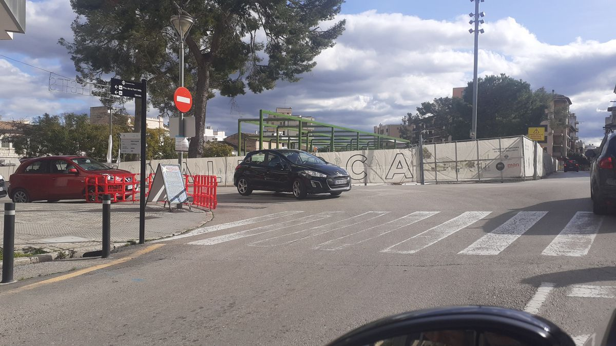 Imagen de este miércoles de las obras de la Plaça Mallorca desde la calle Bartomeu Coc de Inca.