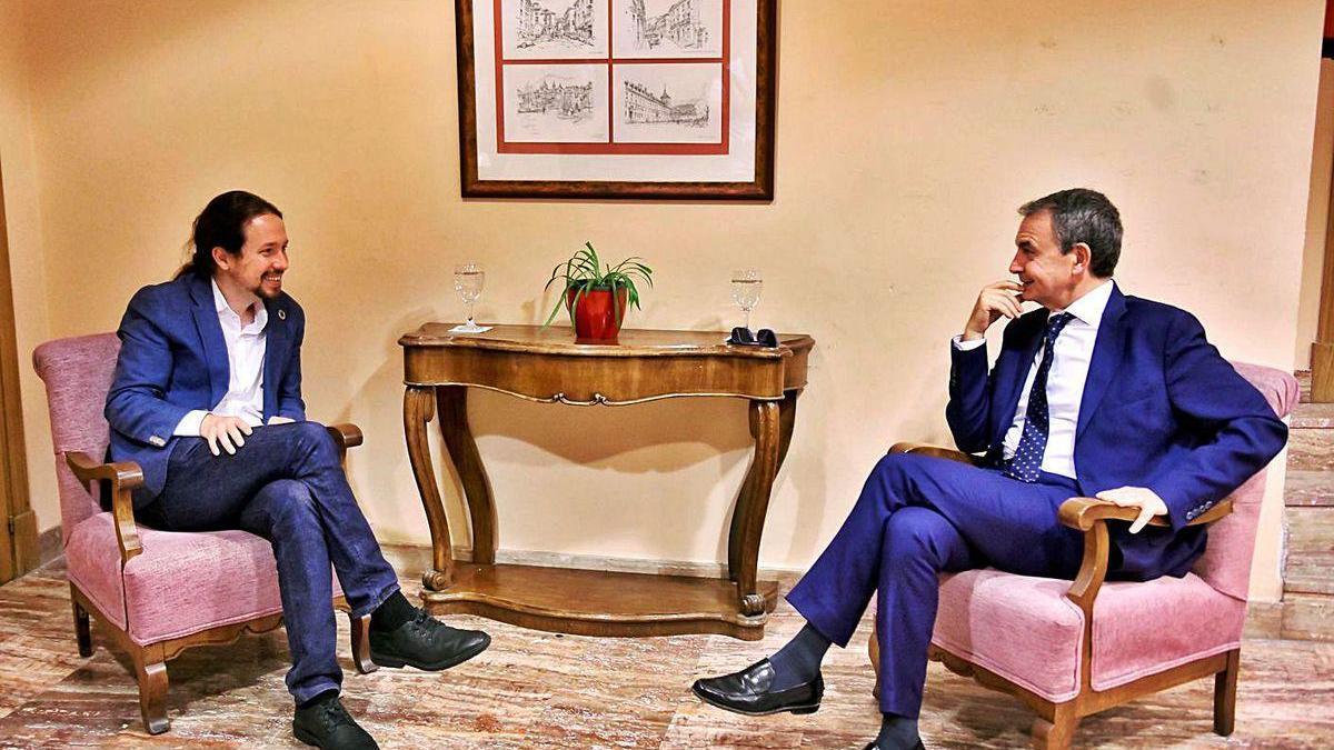 Iglesias y Rodríguez Zapatero durante el encuentro que mantuvieron, ayer, en El Escorial.