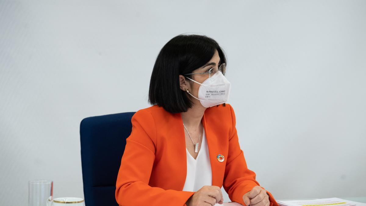 La ministra de Sanitat, Carolina Darias, durant el Consell Interterritorial de Salut del 19 de maig del 2021 a Madrid.