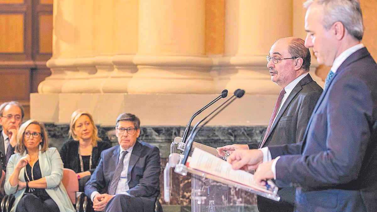 Javier Lambán y Jorge Azcón, en la bilateral de marzo del año pasado entre DGA y ayuntamiento.