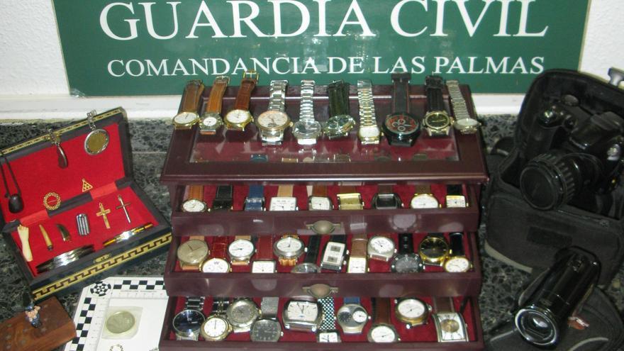 Objetos sustraídos durante los cinco robos perpetrados en Guía