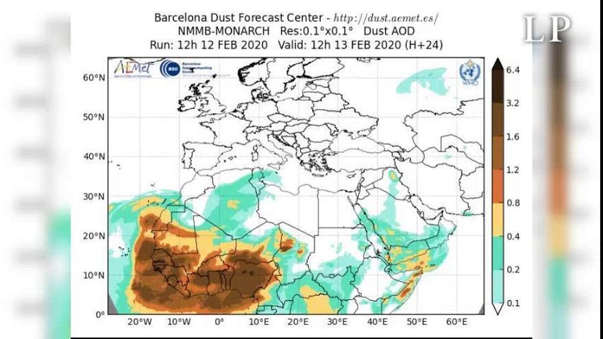 Evolución de la calima sobre Canarias