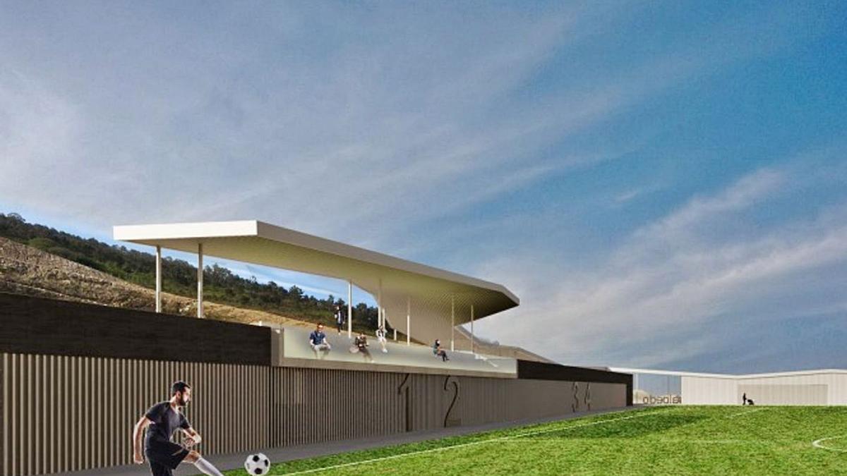 Una imagen del proyecto del campo de fútbol de Salcedo.