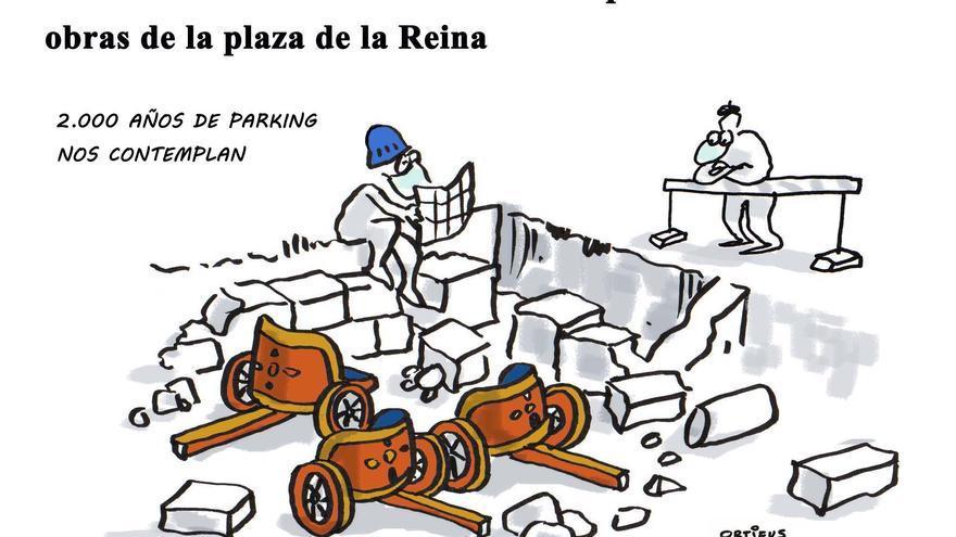 La muralla romana de Valentia ha aparecido en las obras de la plaza de la Reina