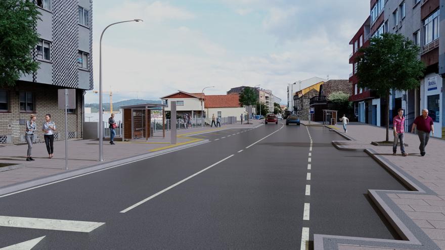 La carretera vieja de Marín estará remodelada en 2024 e incorporará una senda peatonal o carril bici