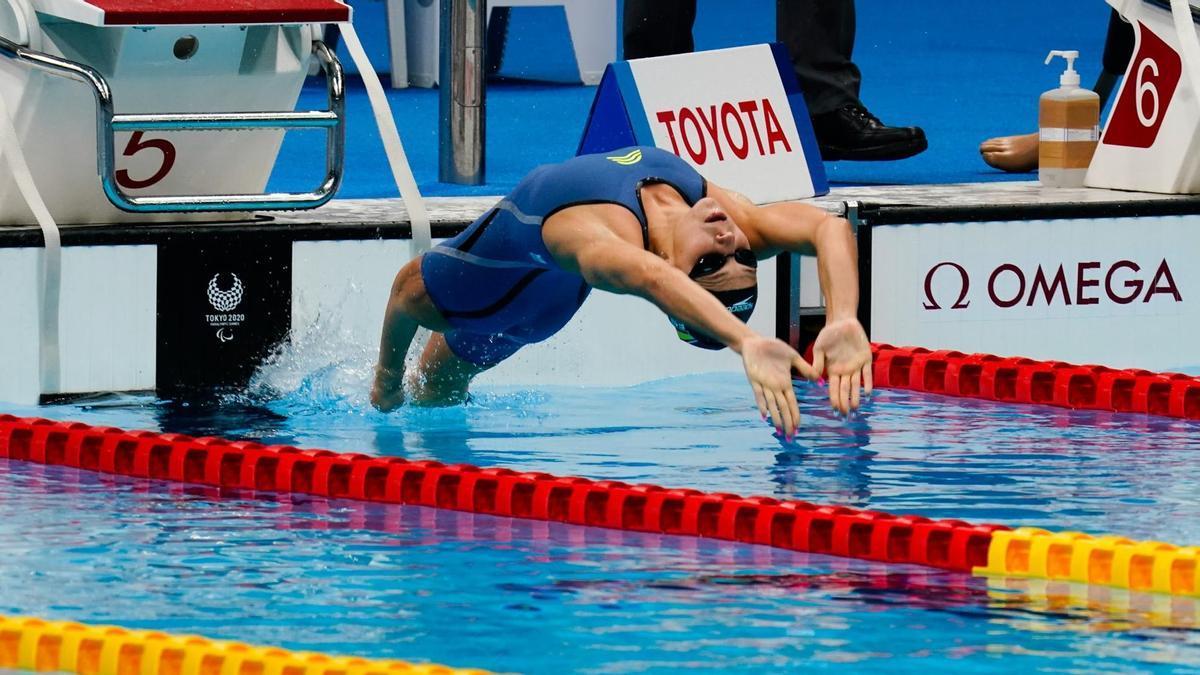 Núria Marquès en la piscina olímpica de Tokio.
