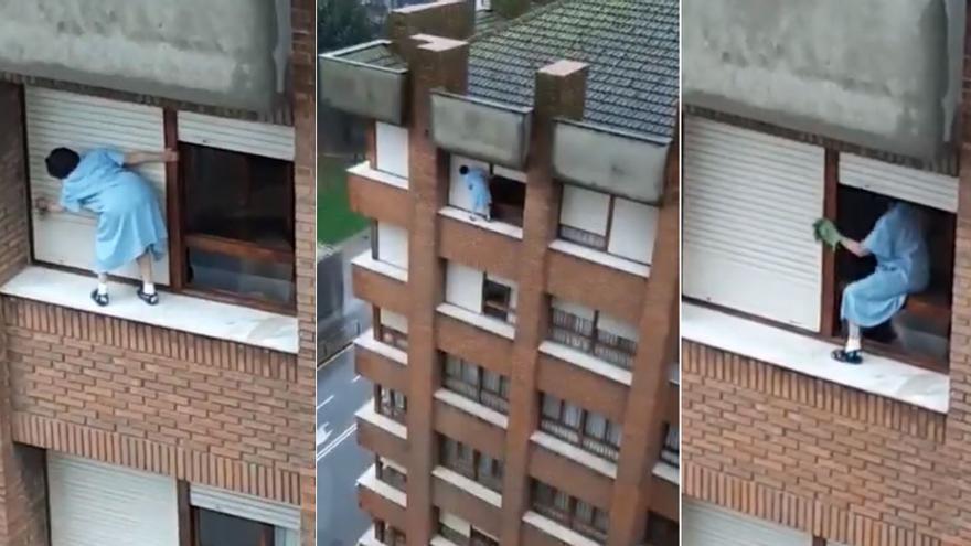 """""""Spiderwoman"""": así es el impactante vídeo de una mujer limpiando la persianas de un séptimo piso"""
