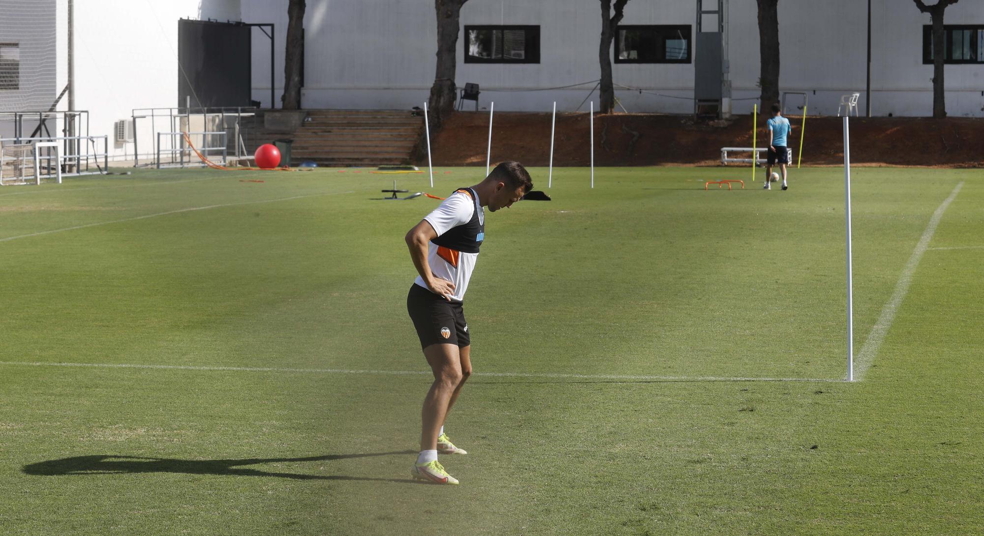 Entrenamiento del Valencia previo al partido frente al Sevilla