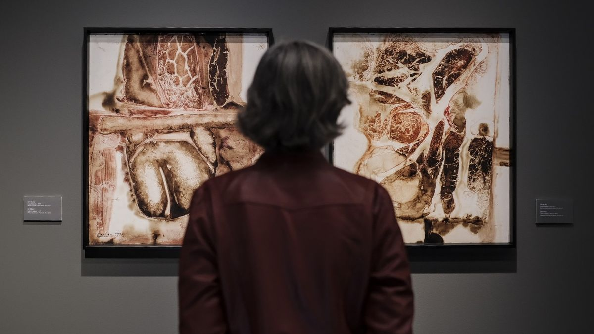 Una persona observa una de las obras expuestas