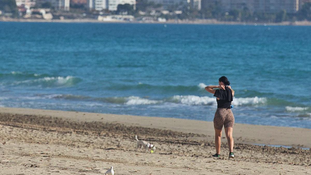 Una pareja tomando el sol en la playa del Postiguet de Alicante, a 24 grados en enero.   ALEX DOMÍNGUEZ