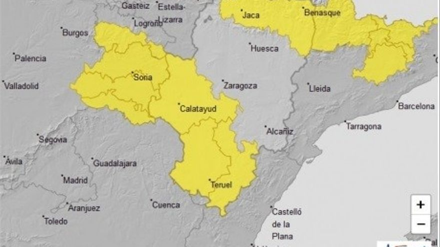Aviso amarillo por lluvias y tormentas en varias zonas de Aragón