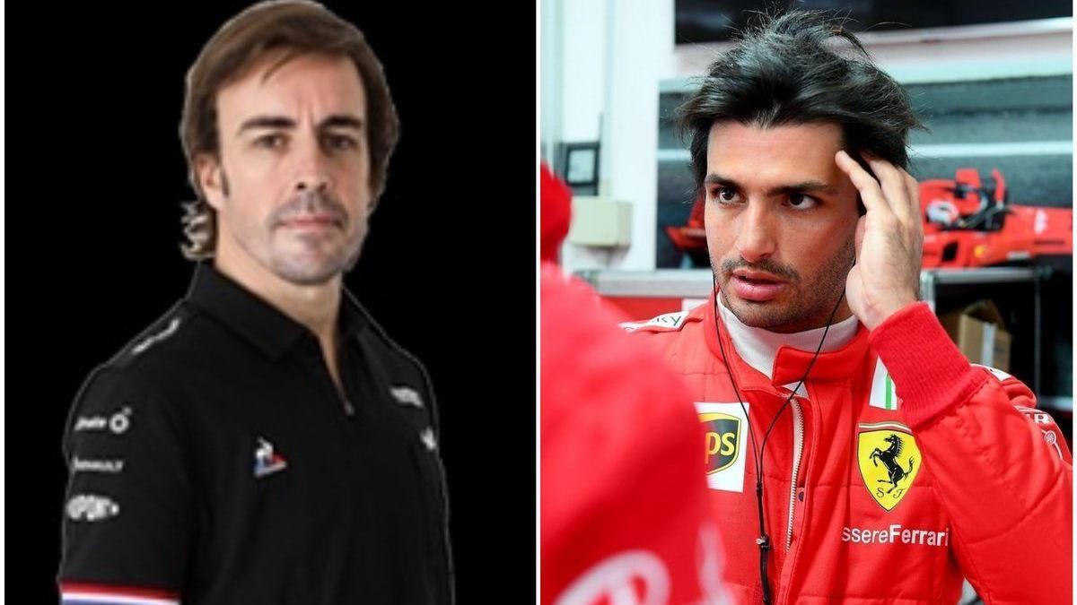 Fernando Alonso y Carlos Sainz: azul sobre rojo