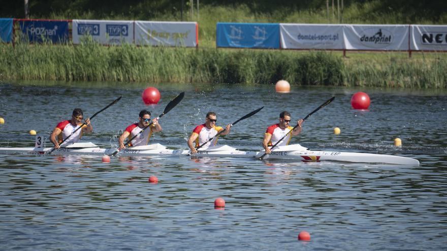 Tres décimas separan a Carlos Garrote y su K-4 de la medalla en el Campeonato de Europa de Poznan