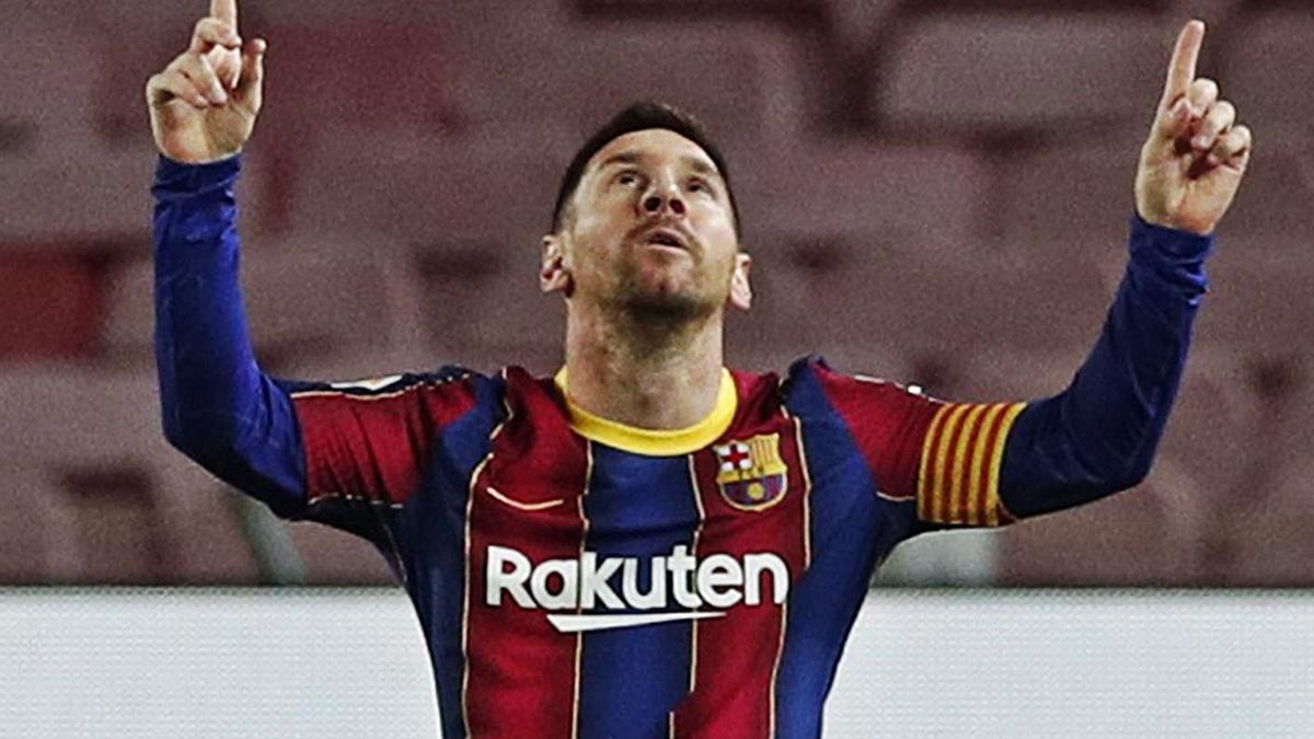 Leo Messi celebra el primer gol del Barcelona ayer. |  // EFE