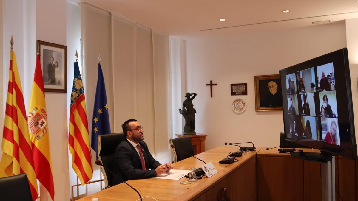 El alcalde, José Benlloch, durante la junta de portavoces de este miércoles.