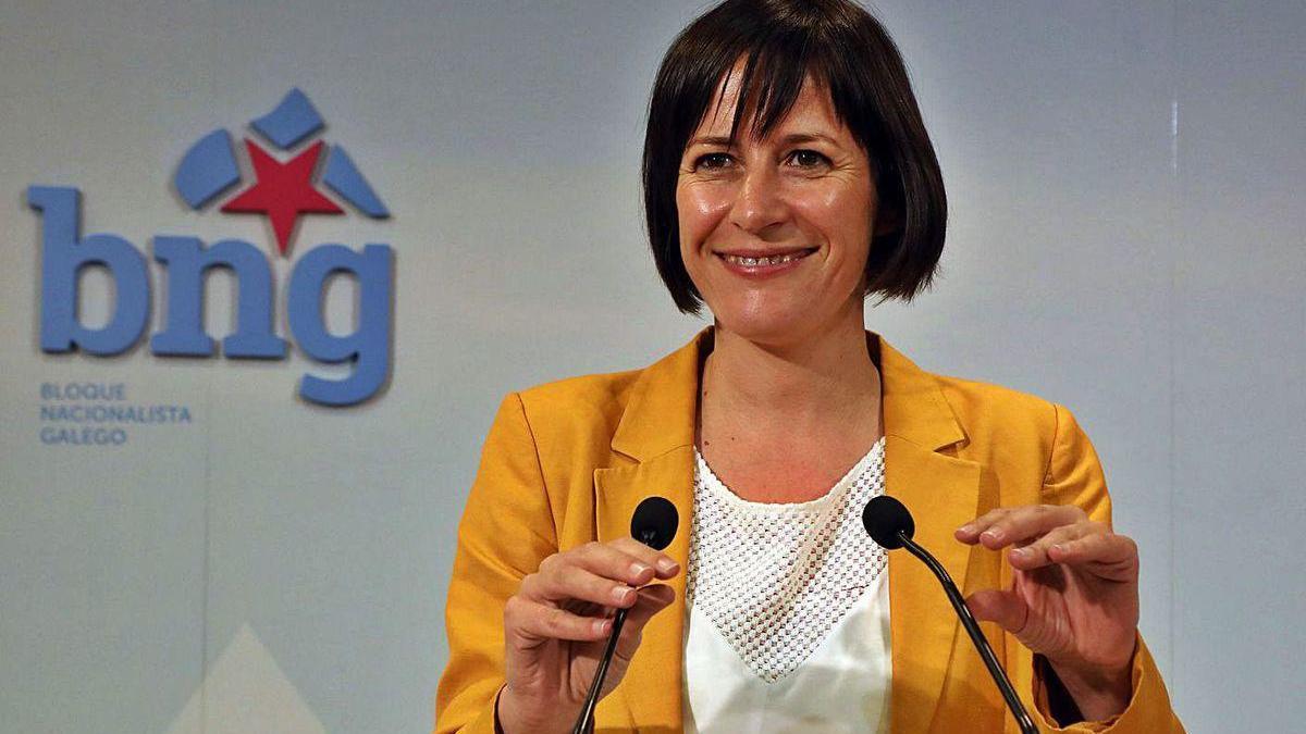 Ana Pontón, ayer tras la reunión de la ejecutiva nacional del Bloque.