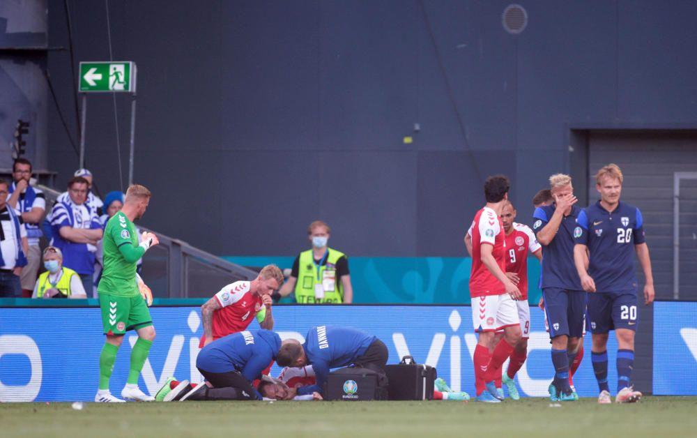 Terribles y dramáticas imágenes de Eriksen en el Dinamarca - Finlandia
