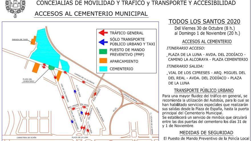 Un dron para controlar las aglomeraciones en el Cementerio de Alicante el Día de Todos los Santos