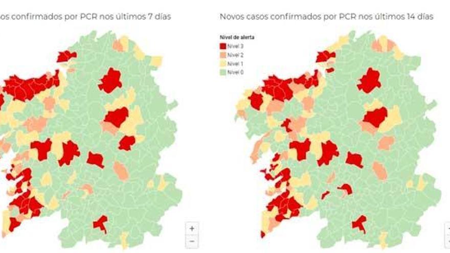 Un total de 34 municipios permanecen en alerta máxima por Covid, 29 de ellos en A Coruña y Pontevedra