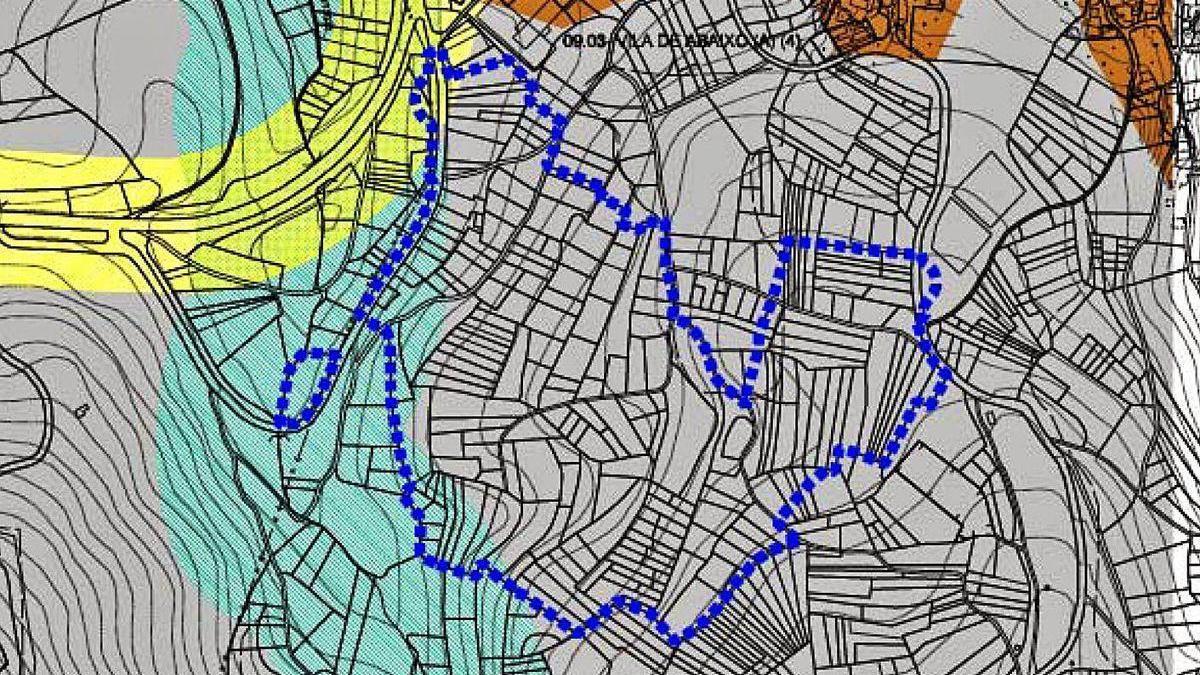 Mapa que muestra la delimitación de los terrenos del nuevo polígono monte Mocín.