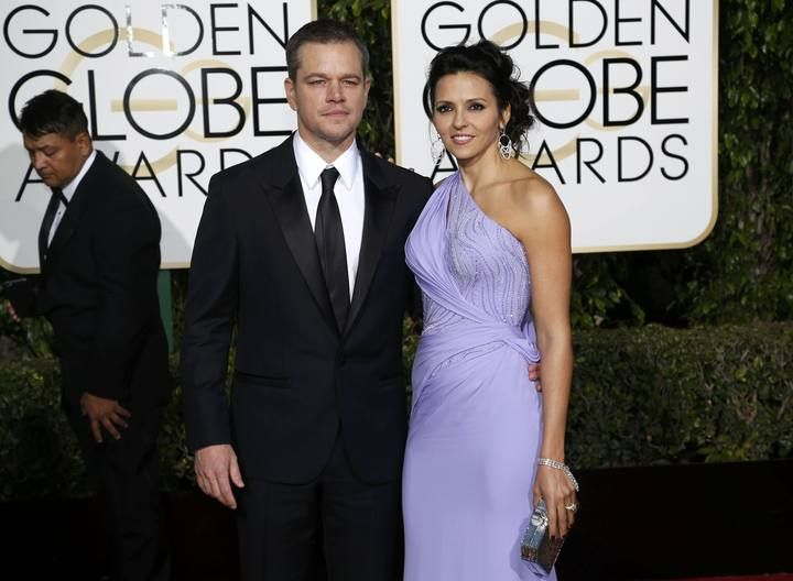 Actor Matt Damon and wife Luciana Barroso arrive at the 73rd Golden Globe Awards in Beverly Hills