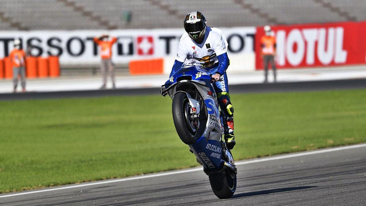 Joan Mir, sobre su Suzuki, ayer en el circuito Ricardo Tormo.