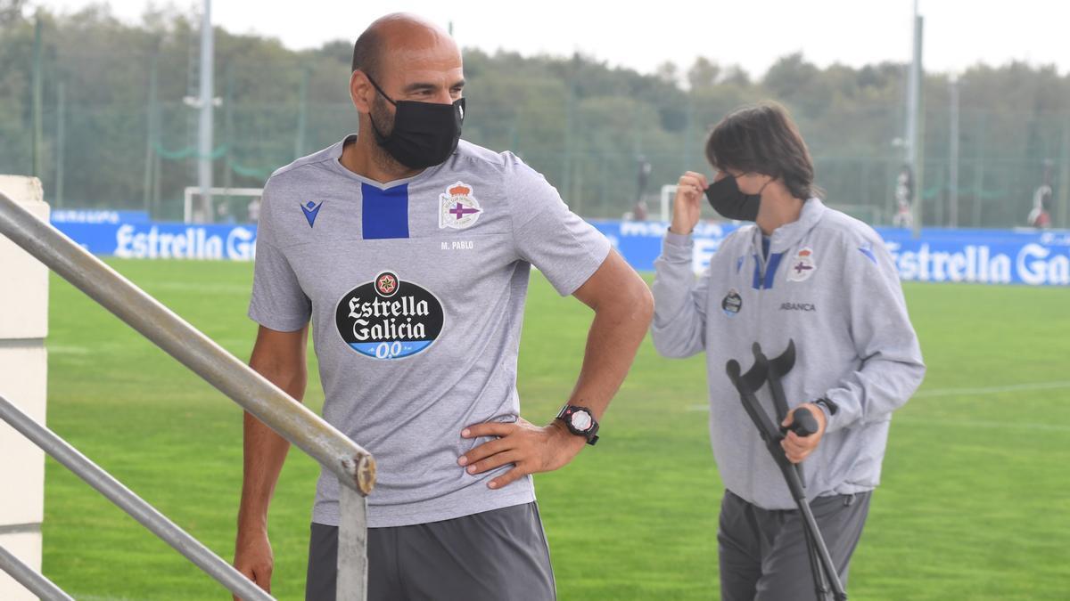 Manuel Pablo, en un entrenamiento con el Fabril la temporada pasada
