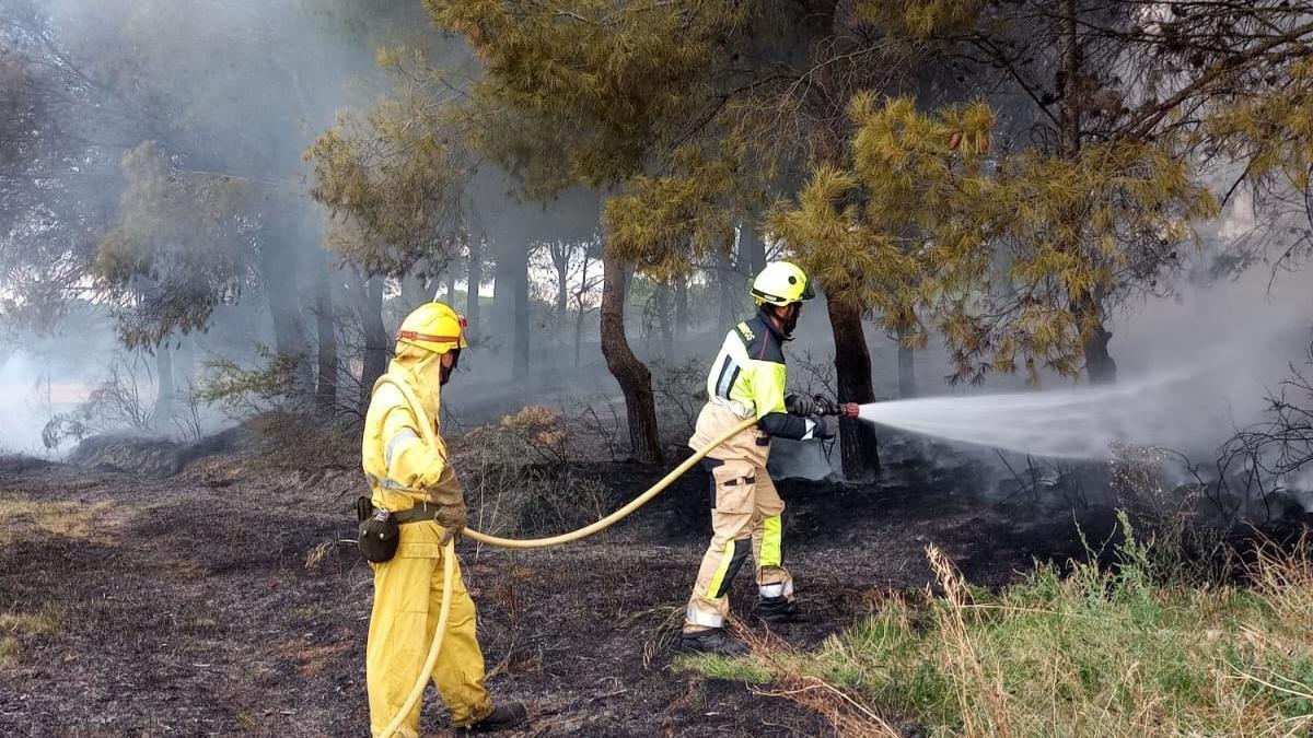 Dos bomberos, durante las tareas de extinción, esta tarde.
