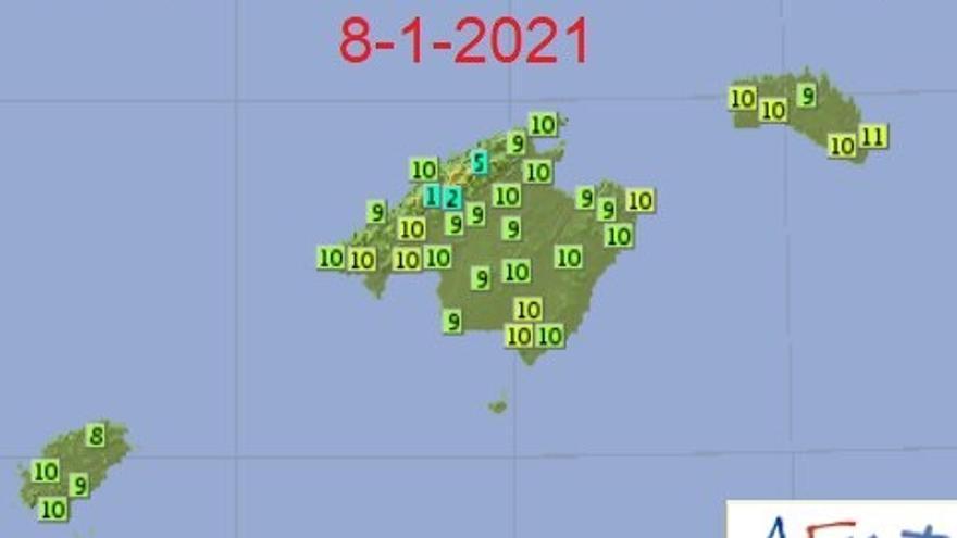 Las mercurios rondan este viernes los 10 grados de temperatura máxima en Baleares