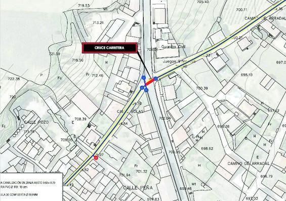 Plano que recoge la ubicación exacta donde se realizará la próxima renovación de tuberías   Cedida