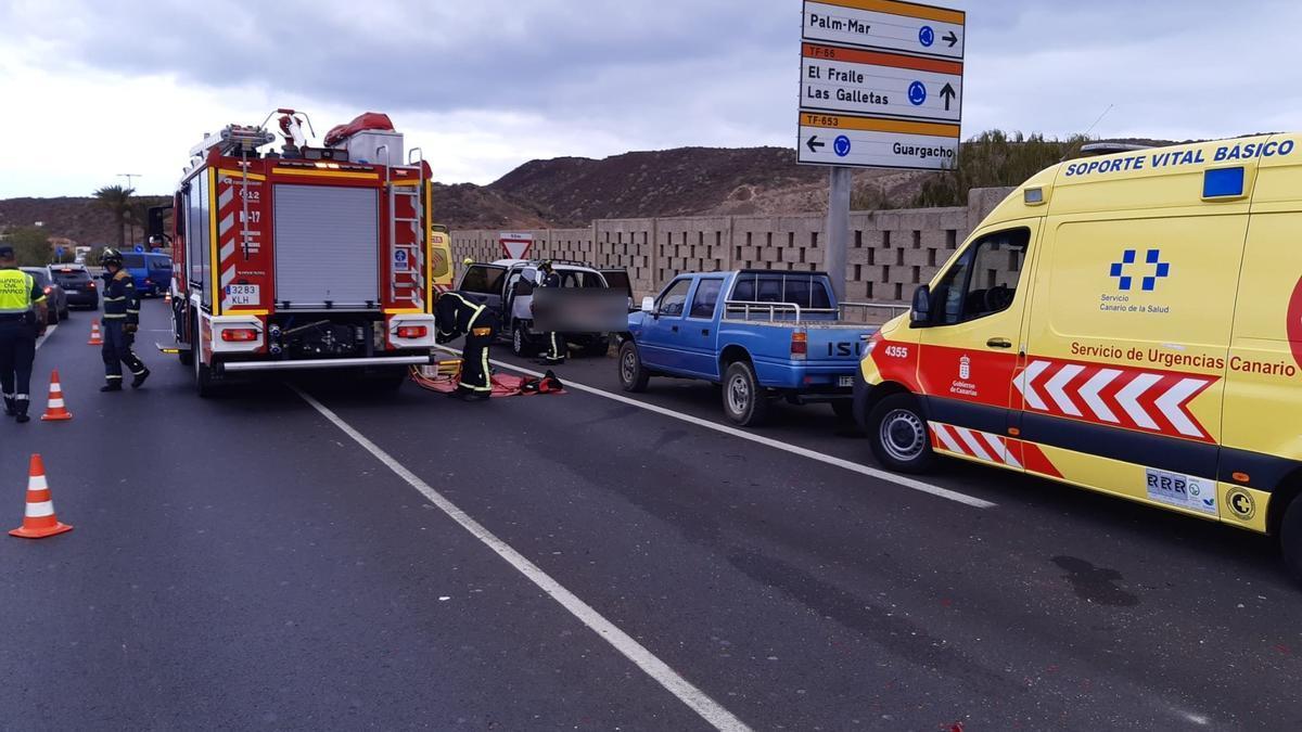 Seis heridos en una colisión en el sur de Tenerife