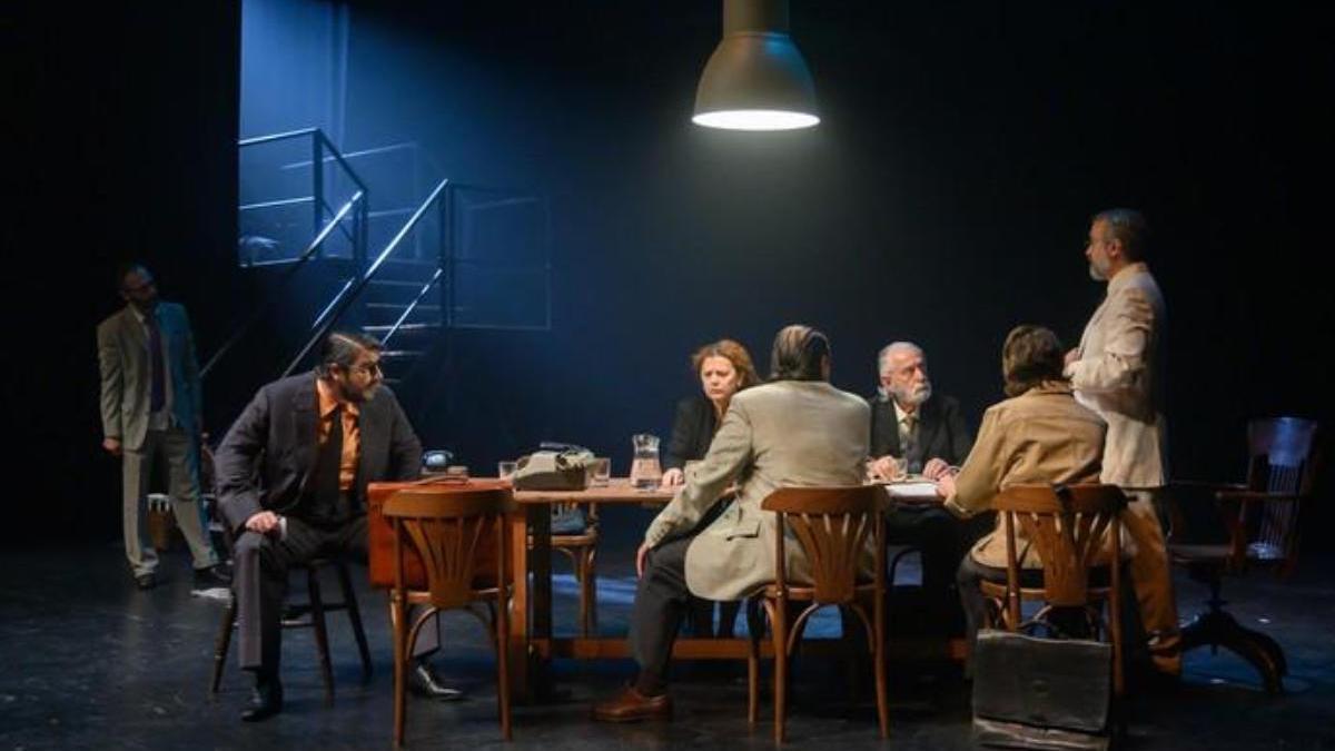 Imagen del pase gráfico de la obra 'Siete hombres buenos', que se estrenó en el Cuyás en febrero