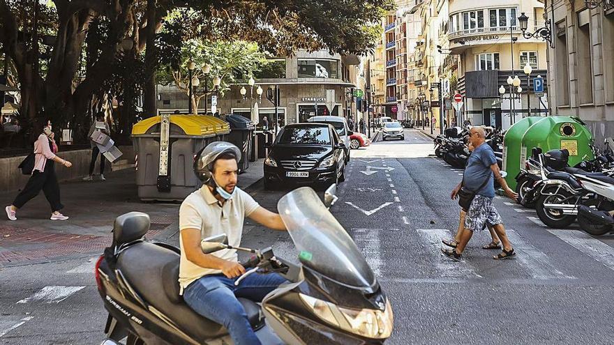 «Alicante Central» arrancará en el Portal de Elche con la supresión de plazas de parking para motos